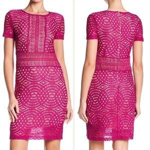 NWT ABS pink crochet overlay plus dress 20 24 W